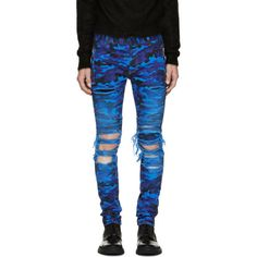 Balmain Blue Camo Destroy Slim Jeans ($1,260) ❤ liked on Polyvore featuring men's fashion, men's clothing, men's jeans, mens ripped jeans, mens faded jeans, mens mid rise jeans, mens button fly jeans and mens camouflage jeans