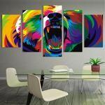 Watercolor Bear Canvas Art, Watercolor Bear Wall Art, Bear Wall Decor, Bear 5 Piece Canvas Print, Bear Art Poster Framed
