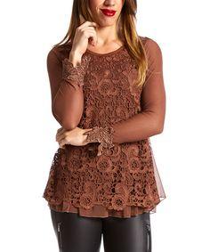 Look what I found on #zulily! Brown Mesh-Sleeve Silk-Blend Top by Pretty Angel #zulilyfinds