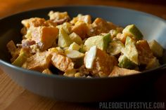 A simple paleo sweet potato salad recipe that's easy to prepare and includes flavors as varied as eggs, bacon and apples.