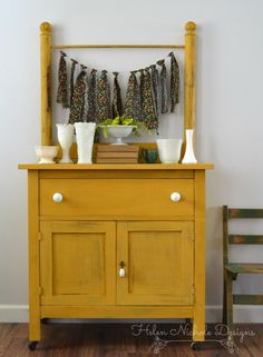 milk paint_marigold yellow washstand_Helen Nichole Designs
