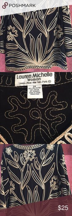"""Black knit top with gold bronze and silver scroll Black knit top with v neck and scrolling in gold bronze and silver size 2X. 25"""" long Lauren Michelle Woman Tops Tunics"""