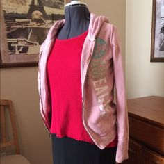 LAST CALL!AE Outfitters Sweatshirt Cute pink hooded jacket with large AE logo down the front. American Eagle Outfitters Jackets & Coats