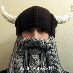Gray Beard. Viking or Dwarven Hat With Horns and by AdairToCrochet, $60.00  What a fun idea!
