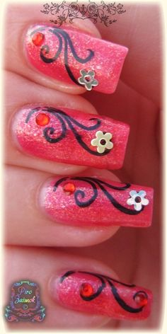 Simple but amazingly beautiful! Tina's Nails, Pedicure Nails, Pink Nails, Hair And Nails, Great Nails, Cool Nail Art, Cute Nails, Toe Nail Designs, Nail Polish Designs