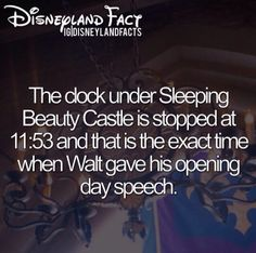 Did YOU Know: Disneyland fact. The clock under Sleeping Beauty's Castle is stopped at the exact time when Walt Disney gave his opening day speech. Disneyland Secrets, Disney Secrets, Disney Tips, Disneyland Trip, Disney Magic, Disneyland California, Wreck It Ralph, Disney Dream, Disney Love