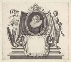 Simon van de Passe   Portret van Magdalena van de Passe, Simon van de Passe, 1630   Portret van Magdalena van de Passe, dochter van de prentmaker Crispijn van de Passe (I), op 30-jarige leeftijd. Haar portret wordt geflankeerd door Minerva als patrones van de kunsten en de personificatie van de graveerkunst die een doek ophouden rond het portret. Boven het portret een devies in het Frans.