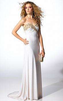 White Sheath/Column Strapless,Sweetheart Empire Long/Floor-length Sleeveless Sequins Sweep/Brush Train Prom Dresses Dress