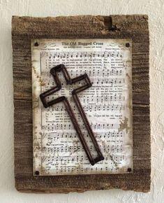 Die Old Rugged Cross Hymne mit String Art Cross auf Scheunenholz - holz diy Barn Wood Crafts, Barn Wood Projects, Craft Projects, Craft Ideas, Barn Wood Decor, Decor Ideas, Wooden Crosses, Wall Crosses, Crosses Decor