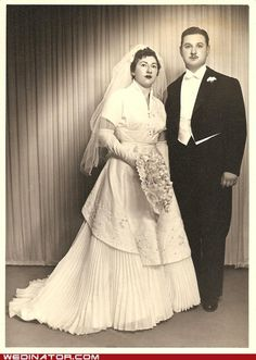 Bride and groom, 1950s. Weird how much the dresses changed and tuxes didn't.