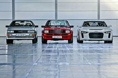 Vor 32 Jahren legte der Ur-Quattro den Grundstein für das, was Audi heute ist und prägte die glanzvollste und wildeste Zeit des Rallyesports. Generationentreff mit Audi Quattro, sport quattro und quattro concept.