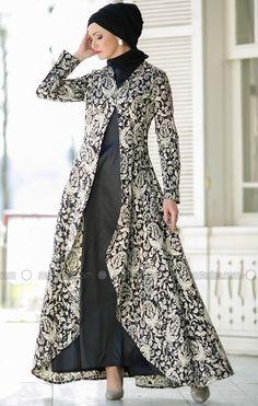 Suit with Evening Dress - Black - Dersaadet Muslim Evening Dresses, Indian Gowns Dresses, Muslim Dress, Black Evening Dresses, Batik Fashion, Abaya Fashion, Muslim Fashion, Fashion Dresses, Modest Dresses