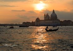 Sunset in the Venice lagoon - last night in Venice end of a short holiday to visit the carnival