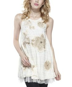 Another great find on #zulily! Beige Floral Embellished Layered Tunic #zulilyfinds