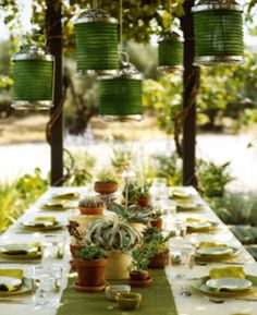 tablescape green evnet party dinner wedding