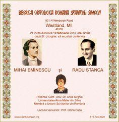 Conferinta Mihai Eminescu si Radu Stanca. BISERICA ORTODOXA ROMANA SFANTUL SIMION, Westland, MI. 10 februarie 2013