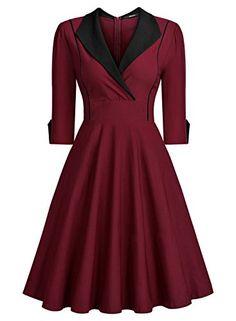 Miusol Women's Deep-V Neck Classical Bow Belt Vintage Casual Swing Dress - Wine&black XX-Large Cap Dress, Dress Up, Plus Size Maxi Dresses, Short Sleeve Dresses, Dress Outfits, Fashion Dresses, Very Short Dress, Cosplay Dress, Classy Dress