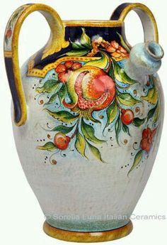 Ceramic Pitcher - Pomegranates - high x diameter in high x 13 in diameter) Ceramic Pitcher, Glass Ceramic, Ceramic Bowls, Ceramic Art, Pottery Plates, Ceramic Pottery, Pottery Art, Italian Pottery, Italian Art