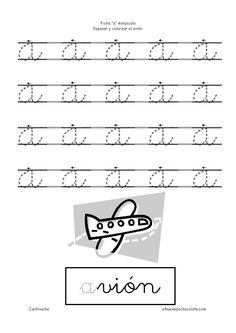 Letra a minúscula. Fichas de letras. Fichas educativas para niños de 3 a 5 años, clasificadas por temas. Cachivache, fichas para niños
