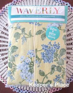 Waverly Peva Vinyl Flannel Back Tablecloth Blue Yellow Floral 52 x 90 New #Waverly