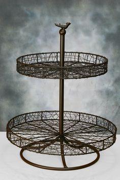 "Large 2-Tier Wire Dessert Stand  with Bird Motif 24"""