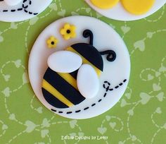 12 Edible Fondant Bumble Bee Cupcake Toppers - Bumble bee & flower. $22.00, via Etsy.
