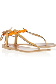 See by Chloé|Raffia-trimmed leather sandals|NET-A-PORTER.COM