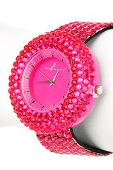 Fuchsia Rhinestone Watch