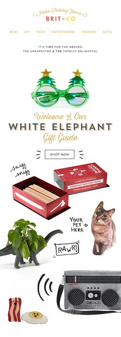 B+C Shop White Elephant Gift Guide Email Design animated gif