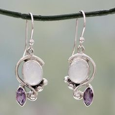 Sterling Silver Earrings Rainbow moonstone and amethyst dangle earrings, 'Yours Forever' - Rainbow Moonstone Earrings with Amethyst And Silver Moonstone Earrings, Amethyst Pendant, Sterling Silver Earrings, Dangle Earrings, Antique Earrings, Silver Charms, Silver Necklaces, Silver Rings, Silver Jewellery
