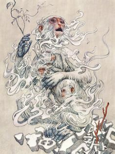 Monkeys on holiday by James Jean.