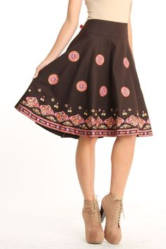 Ariella Wool Skirt With Embroidery