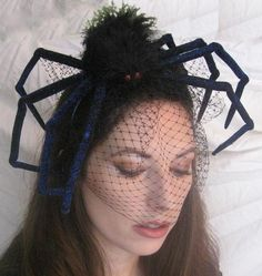 "DIY Spider Fascinator Originally from Etsy but no longer there. You can make an ""inspired"" version: just buy a big spider and attach it to very cheap black tulle or netting."