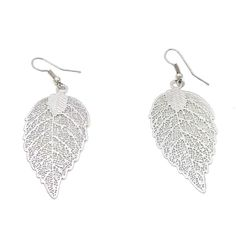 Silver Color Leaf Copper Dangle Earrings for Women Teen Girl Silver Color Hook #Dangle #Earrings