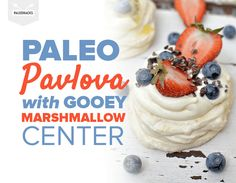 This crispy meringue shell with a gooey marshmallow center will intoxicate your taste buds. Pavlova is a classic Australian dessert - decadent and divine! Paleo Dessert, Eat Dessert First, Healthy Desserts, Sweets Recipes, Raw Food Recipes, Cooking Recipes, Clean Recipes, Diet Recipes, Paleo Keto Recipes