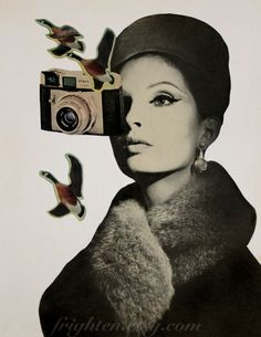 Retro-Kamera Kunst Black And Whitepaper Collage von frighten