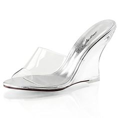 1fe01c1e7c1e Womens Slip On Shoes Clear Slides 4 Inch Heel Wedges Sandals Clear Strap  Heel