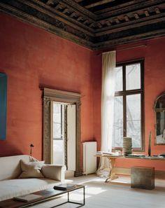 Terracotta walls wood accents living room #interiordesigns