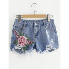 Flower Embroidered Destroyed Denim Shorts ($9.99) ❤ liked on Polyvore featuring shorts, denim shorts, torn jean shorts, distressed denim shorts, ripped jean shorts and ripped shorts