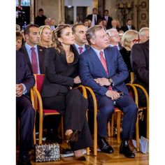 """Queen Rania of Jordan shared a tender moment with husband King Abdullah II, holding his hand during the official ceremony of 'Peace of Westphalia Prize' in Germany. The King was awarded with the Peace of Westphalia Prize for his """"peace-making efforts and role in promoting global security and stability."""""""