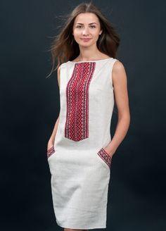 Платье Happy hours / Вышиванки  со скидкой -50% Linen Dresses, Cotton Dresses, Boho Fashion, Fashion Dresses, Mode Boho, Batik Dress, Embroidery Fashion, Western Dresses, Simple Dresses