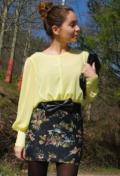 Tropical  #style #fashion , Primark in Shirt / Blouses, Zara Trafaluc in Skirts, Zara in Belts