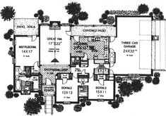 European Style House Plan - 3 Beds 2 Baths 1966 Sq/Ft Plan #310-587 Floor Plan - Main Floor Plan - Houseplans.com