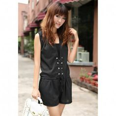 Casual Style Solid Color Golden Double Breasted Design Sleeveless Short Pant Chiffon Women's Jumpsuit, BLACK
