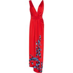 Carolina Herrera     Deep V Floral Gown ($5,490) ❤ liked on Polyvore featuring dresses, gowns, carolina herrera, red, floral gown, red maxi dress, floral evening dresses, red gown and red evening dresses