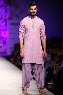 Vintage rose thread work lakhnawi kurta and dhoti pants