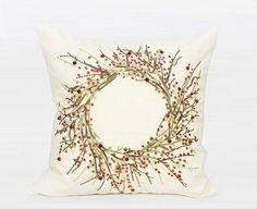 RED CHRISTMAS THEME EMBROIDERED PILLOW COVER  Sale $49.99 (Was 100.00)