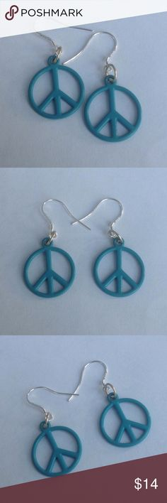 Teal Peace Sign Earrings Teal peace sign earrings with Sterling silver ear wires. Check out my other items for a bundle discount. PRICE FIRM UNLESS BUNDLED!!! Cindylou's Design Jewelry Earrings