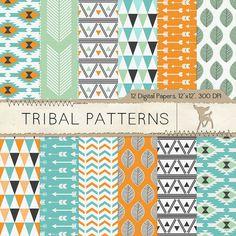 Tribal Digital Paper, Tribal Scrapbook Paper by MyDearMemories, $4.60
