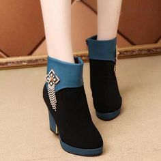 Suede Patchwork Zipper Chunky Heel Round Toe High Heels on Luulla Mode Shoes, High Heels, Shoes Heels, Fashion Shoes, Fashion Outfits, Womens Fashion, Fresh Shoes, Character Outfits, Short Boots